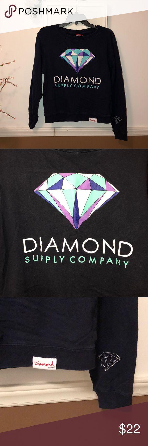 diamond supply company crewneck sweatshirt diamond supply company crewneck sweatshirt, size S, Navy Blue Diamond Supply Co. Sweaters Crew & Scoop Necks
