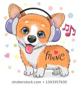 <b>Cute cartoon</b> Corgi <b>Dog</b> with headphones on a <b>white</b> background ...
