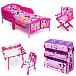 Toddler Bedroom Set Minnie Mouse Bed Toy Box Art Desk Kids Chair Home  Furniture | EBay