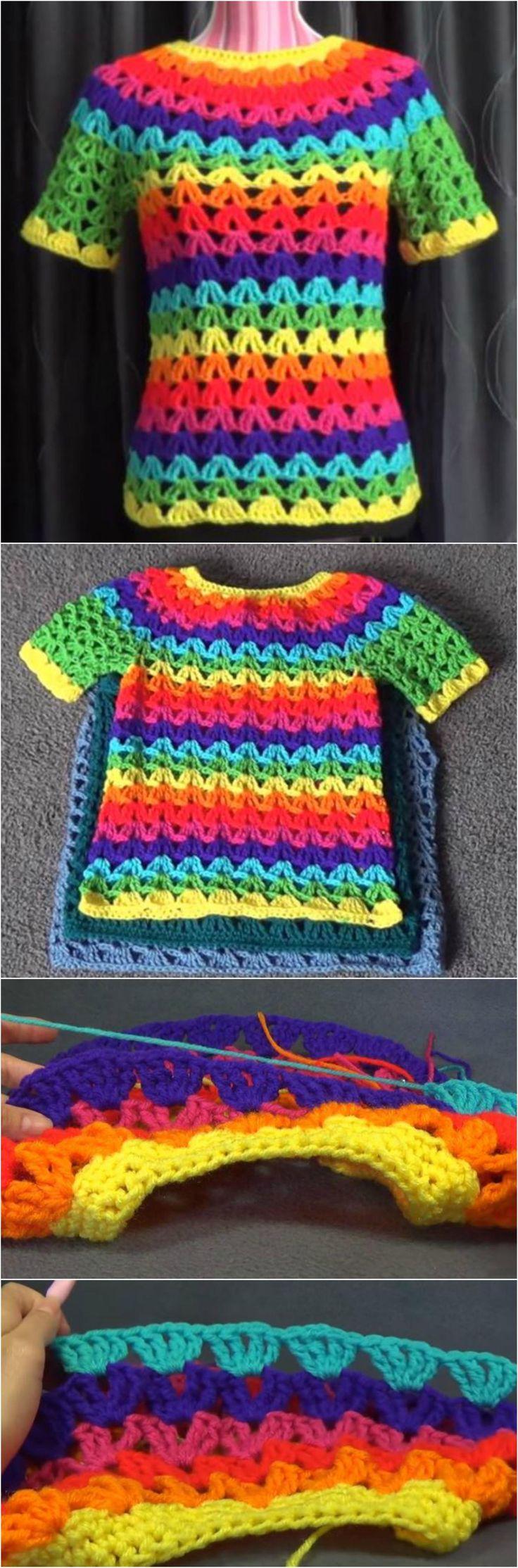 Crochet Rainbow Tunic