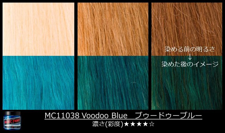 #ManicPanic #VoodooBlue on darker #hair looks like #GreenEnvy or #Enchanted Forest on lighter hair! See how this dye will come out on various shades of blonde, here. #ManicPanicJapan #TurquoiseHair #Bluehair #Greenhair