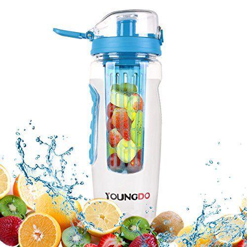 Bouteille avec Infuseur à Fruits avec Etui Isotherme, YOUNGDO Bouteille Eco-friendly fruits infusion Sans BPA Tritan Bouteille 900ml, Idéal…