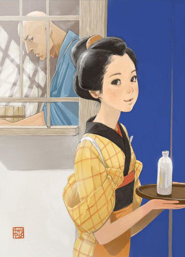 カサハラテツローが描いた「さらい屋五葉」トリビュートイラスト。(C)カサハラテツロー/小学館 IKKI