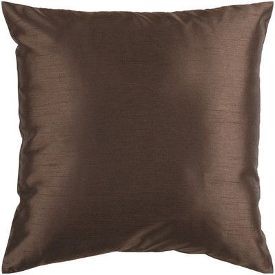 """Astoria Grand Appley Solid Luxe Synthetic Throw Pillow Size: 22"""" H x 22"""" W, Color: Brown, Filler: Polyester"""