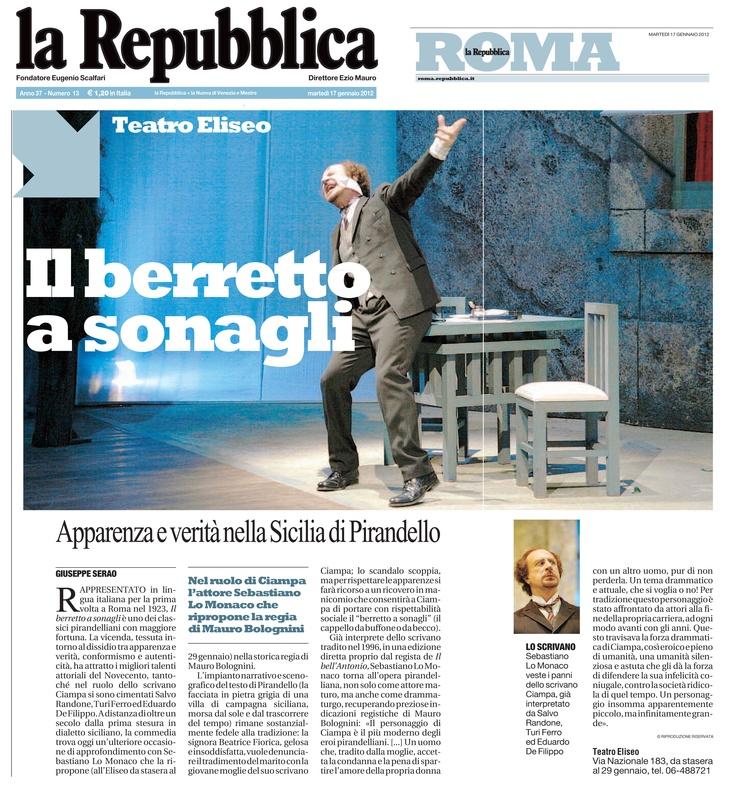 """17 gennaio 2012 - La Repubblica - presentazione de """"Il Berretto a Sonagli"""""""