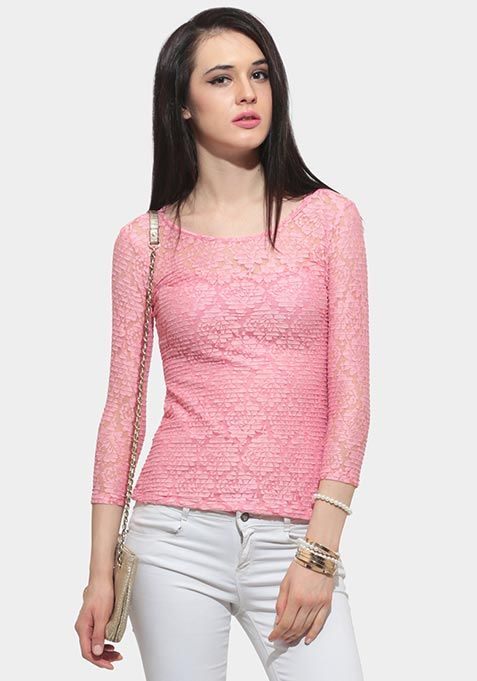 SOFT SHELL LACE TOP - PINK