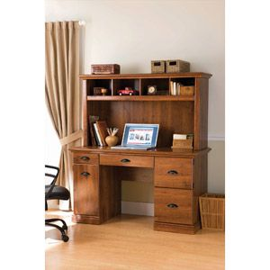 "Better Homes and Gardens Computer Workstation Desk and Hutch, Oak. walmart 179. 53.5"" W x 23.5"" D x 30.25"" H"