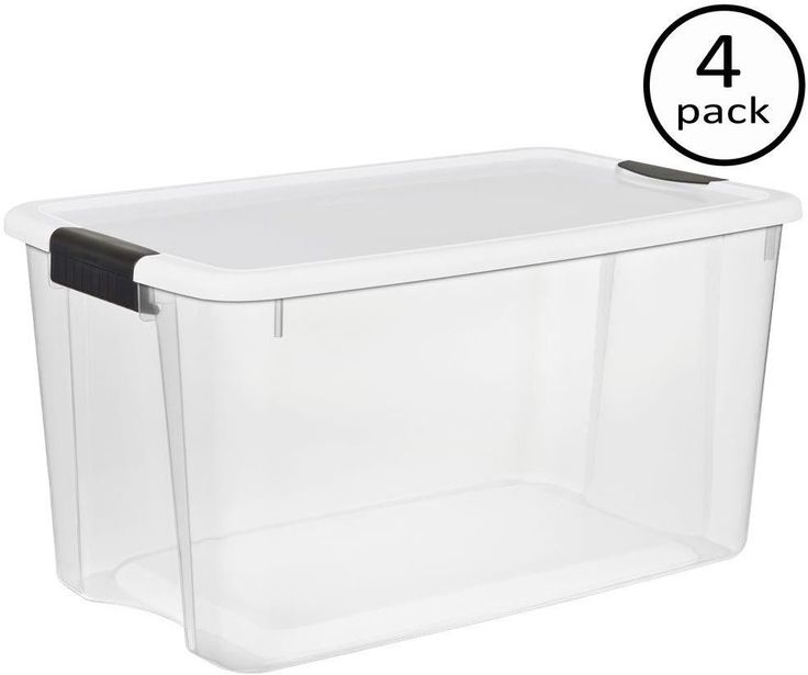 STACKABLE STORAGE BOXES Clear Plastic Container Organizer Bin 70 Qt. (4-Pack) #Sterilite