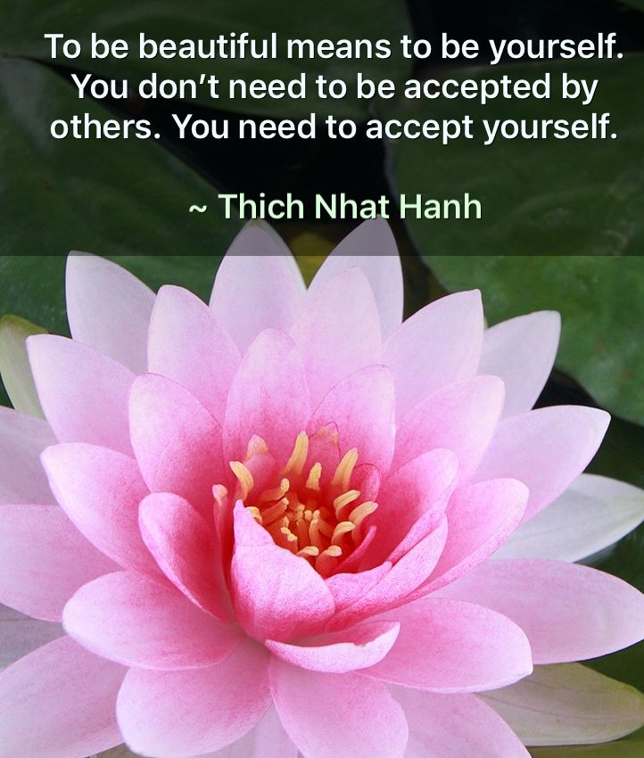 To be beautiful means to be yourself  Thich Nhat Hanh