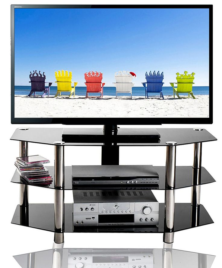 Glass and Chrome TV Stand 3 Tier Entertainment Center TV console Media Console  #Merax