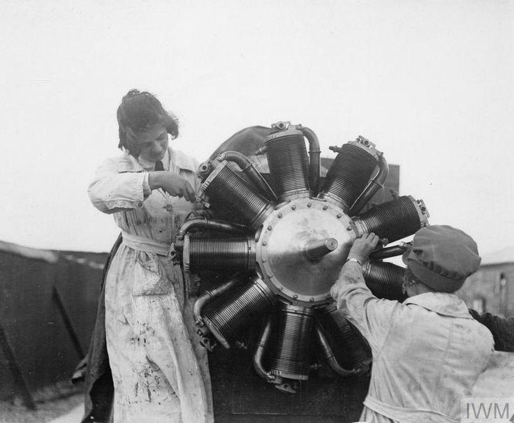 THE WOMEN'S ROYAL AIR FORCE 1914 - 1918    Air mechanics of the Women's Royal Air Force (WRAF) servicing a rotary aircraft engine.