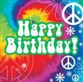 Tie Dye Happy Birthday Napkins, Hippie, Peace Sign Themed Party Supplies