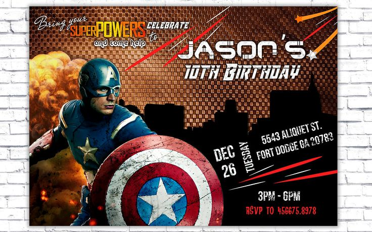 Super Hero Invitation, Captain America Invitation, Super Hero Invitation Template - Superhero Birthday Party - INSTANT DOWNLOAD by PrintablesForEvents on Etsy