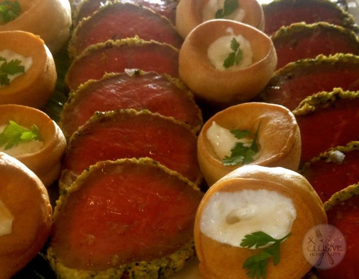 Herb Crusted Rare Fillet of Beef, Mini Yorkshire, Horseradish Sabayon #catering #events #leicestershirefood #xclusive