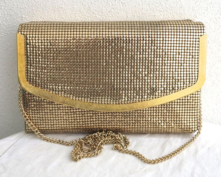 Vintage gold mesh shoulder/clutch/across body bag, original box, box with foldover front, gold metallic trim, gold handle, Glomesh, as new by CardCurios on Etsy