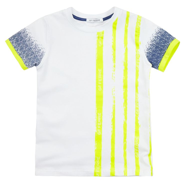 White stretch cotton jersey T-shirt with neon stripes on the chest and on the sleeve trims. Round neck and short sleeves. - £ 39,20