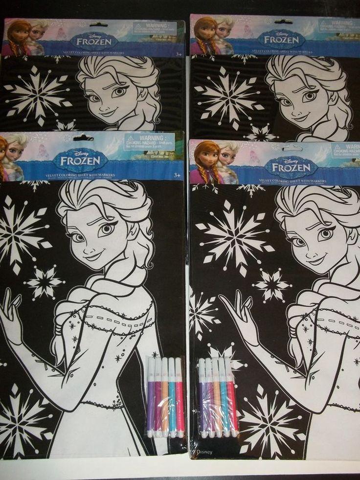 4 new disney frozen elsa black velvet coloring sheets w markers large poster disneyfrozen - Velvet Coloring Book