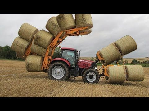 World Amazing Modern Agriculture Equipment Automatic Mega Machines Hay Bale Tractor Loader Forklift - YouTube