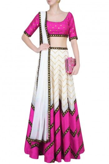 Ivory, Black And Magenta Zigzag Lines And Sequins Embellished Lehenga Set…