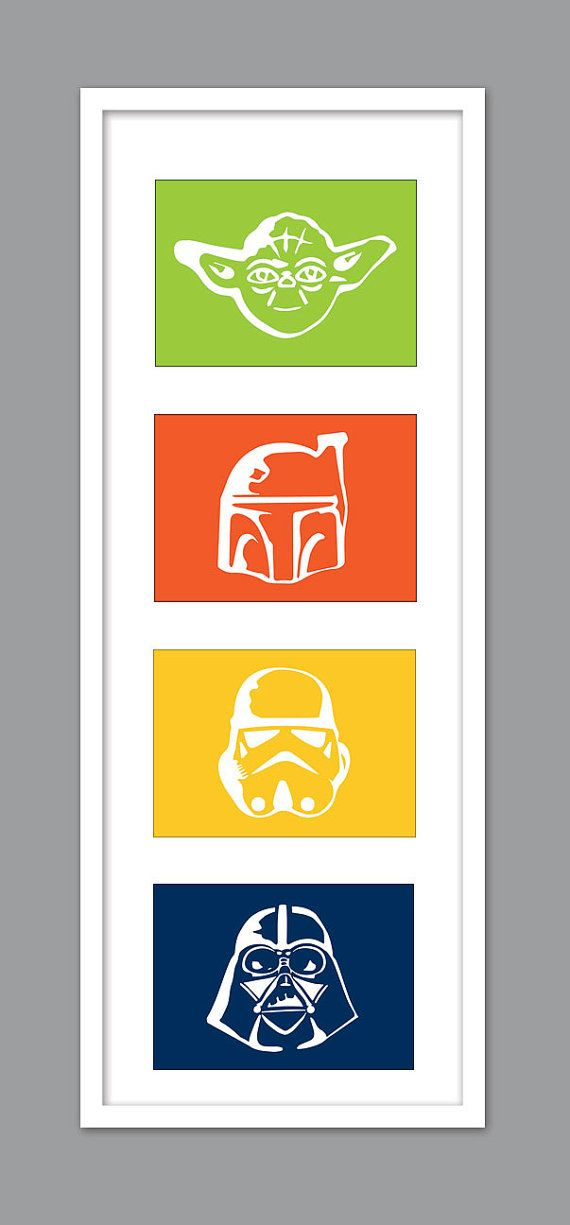 4 Star Wars Character Silhouettes for Nursery/Boys Nursery/Darth Vader/Yoda/Stormtrooper -  Set of 4  - 5x7s