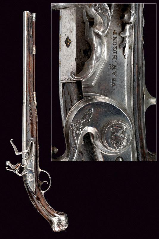 A elegant flintlock pistol by Francesco Bigoni.    provenance: Brescia dating: second quarter of the 18th Century.