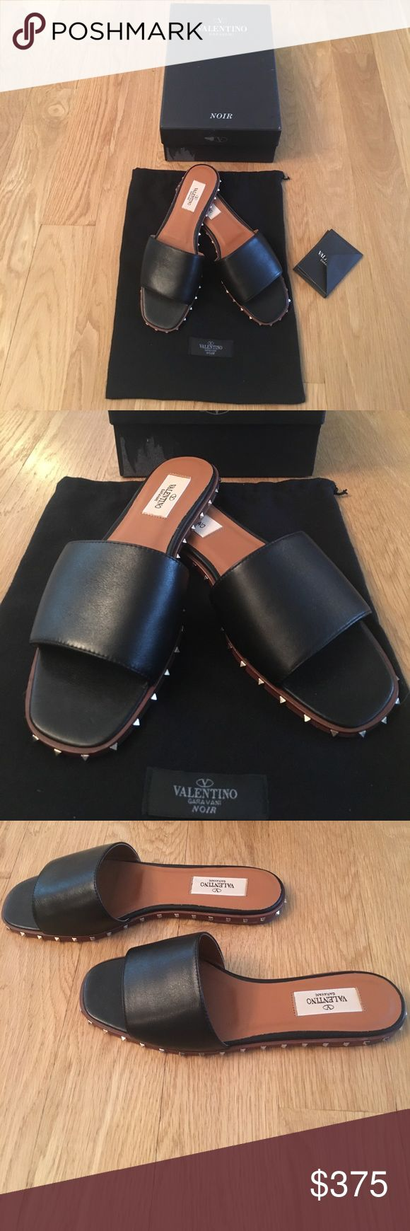 NWT Valentino slides NWT Valentino black leather slides with gold studs size 8/38. Authentic. Comes with box, card and dust bag. Bought these and they are just a hair too small on my foot that's a little bugger. Would fit 7.5-8. Beautiful quality shoes !!!! Please don't lowball. I will ignore all low ball offers. These have been tried on only and in box. Exactly the condition they were purchased from a reputable seller here on Poshmark. The last pic is from the current Nordstrom website…