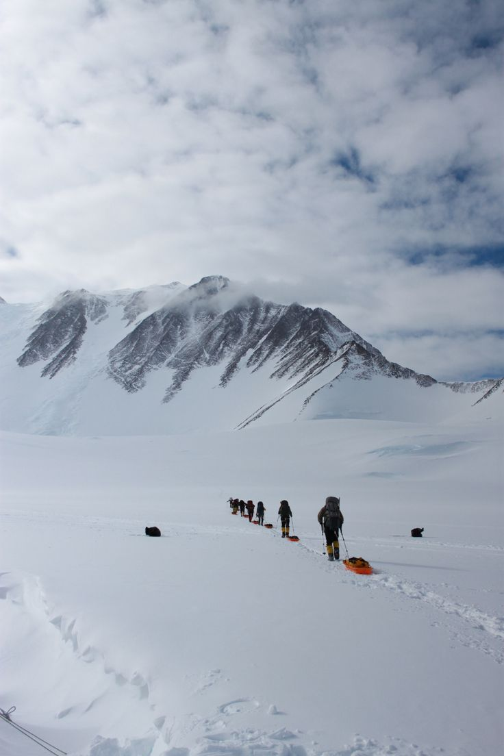 A team moving to a higher camp on Vinson Massif. #Antarctica #adventure