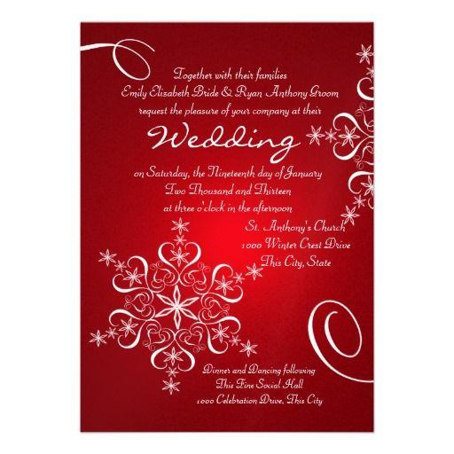 Snowflake Red Winter Wedding Invitation Keywords: #weddings #jevelweddingplanning Follow Us: www.jevelweddingplanning.com  www.facebook.com/jevelweddingplanning/