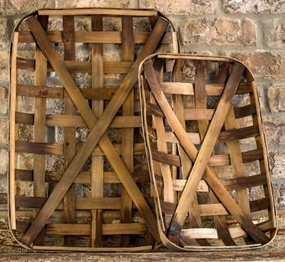 A cool new trend in home decor, these vintage inspired tobacco baskets have an authentic weathered look. Baskets like these were used by southern tobacco compan