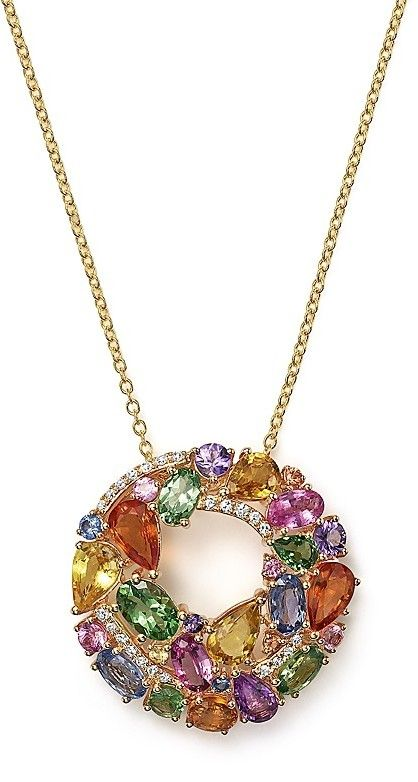 Multi Sapphire and Diamond Pendant Necklace in 14K Yellow Gold, 17""