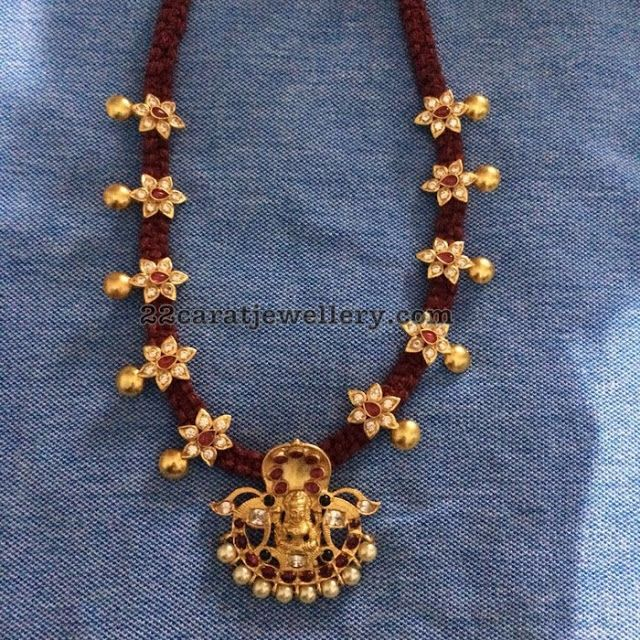 Thread Necklace with Lakshmi Pendant - Jewellery Designs