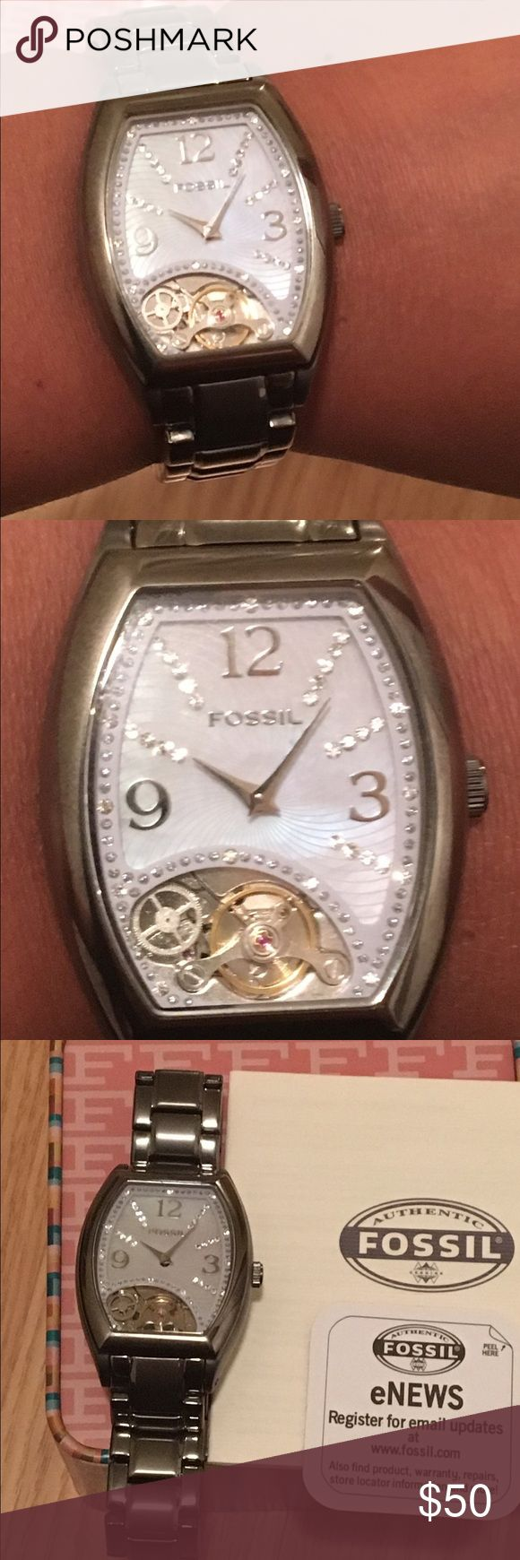 Beautiful Fossil watch for women. Women's Fossil Watch. Stainless steel. Rhinestones on face. Worn once. Great gift for that special someone. Fossil Accessories Watches