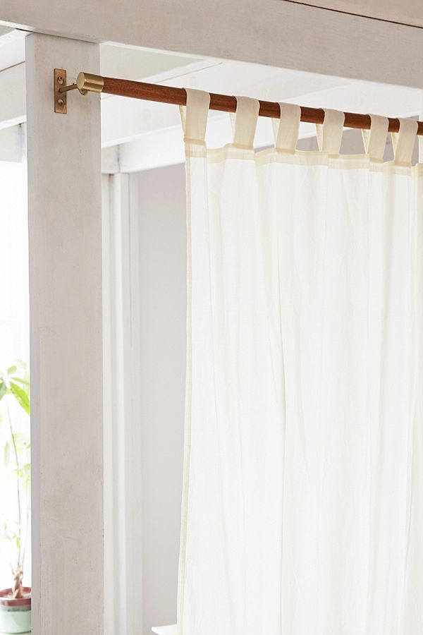 Love This Mid Century Modern Wood Curtain Rod And The Curtain