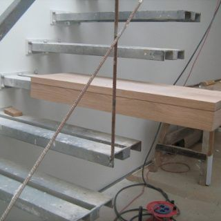 Wooden Cover Steps On The Metal Stairs Construction Design   Architecture  Admirers