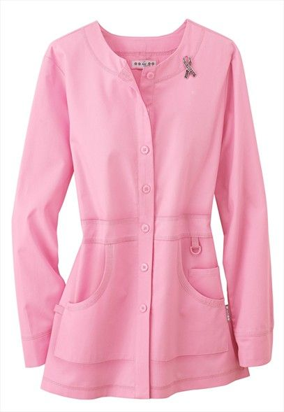 Koi Olivia Pink Ribbon lab coat with pin.Find it at scrubsandbeyond.com today!