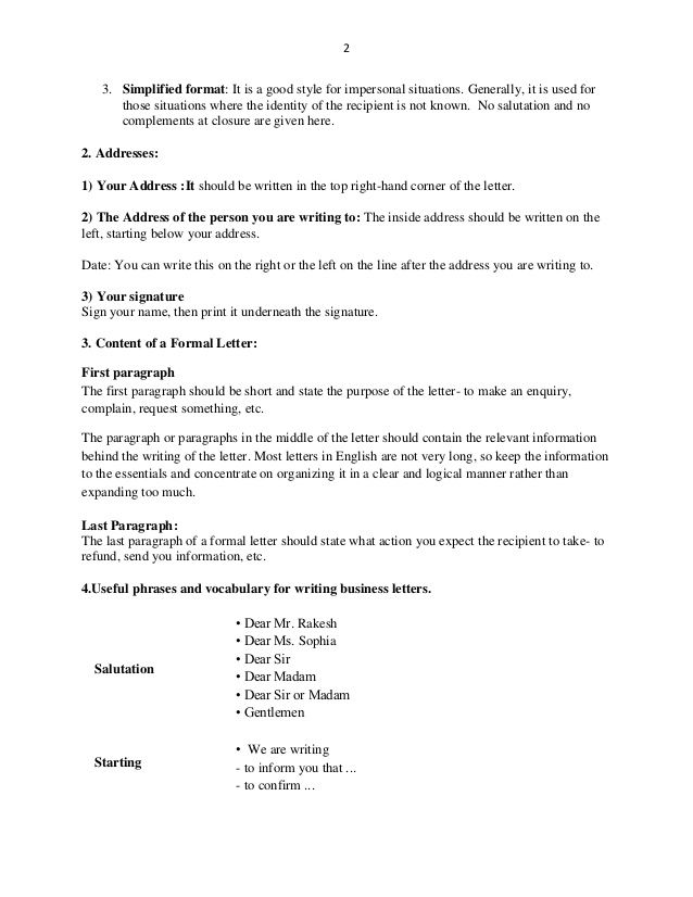 business letters rules for writing formal
