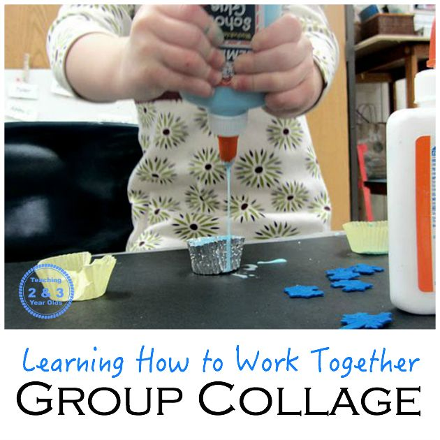 Strengthen language and fine motor development by creating a group collage.
