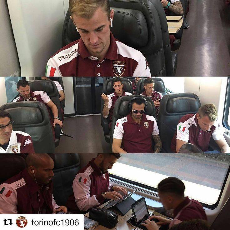 I ragazzi del @torinofc1906 a bordo del #Frecciarossa #Torino #calcio #repost #nofilter #SerieATim #campionato #viaggio #instafrecce #sport #weekend #pallone #buonviaggio