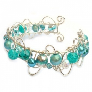 Turquoise Wire Cuff Bracelet  made with silver plated (non-tarnish) wire with various purple glass pearls and beads. Fits wrist size 6-7 inches. (Other sizes available upon request). at the Shopping Mall, £22.00: Kian Design, Jewelry Cuffs, Wire Cuffs Bracelets, Small Wire Cuffs Turq Squares, Wire Wraps, Diy Jewelry, Handmade Cuffs, Turquoi Wire, Jewelry Ideas