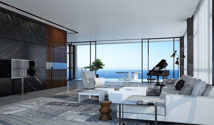 La pièce principale de vie de cet appartement de luxe avec le séjour & la salle à manger