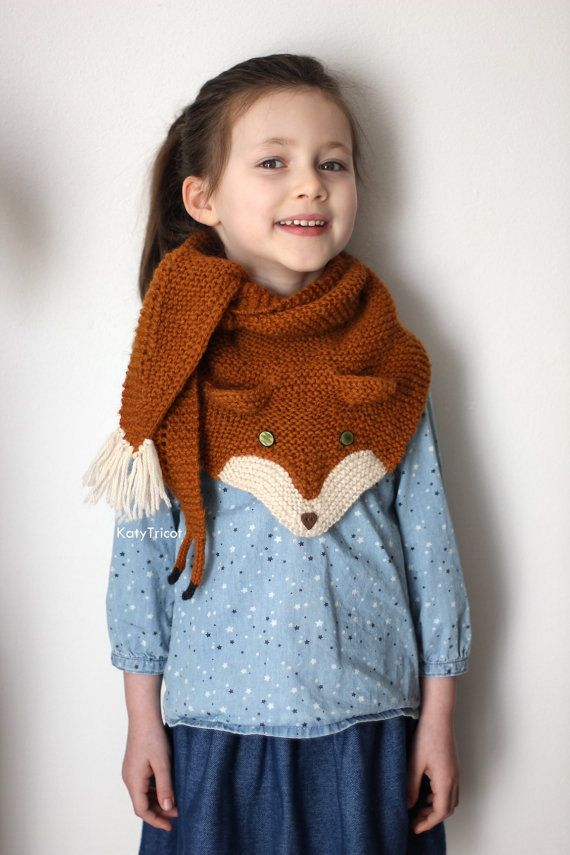 FOX trot Scarf Knitting pattern one size fits kids by KatyTricot