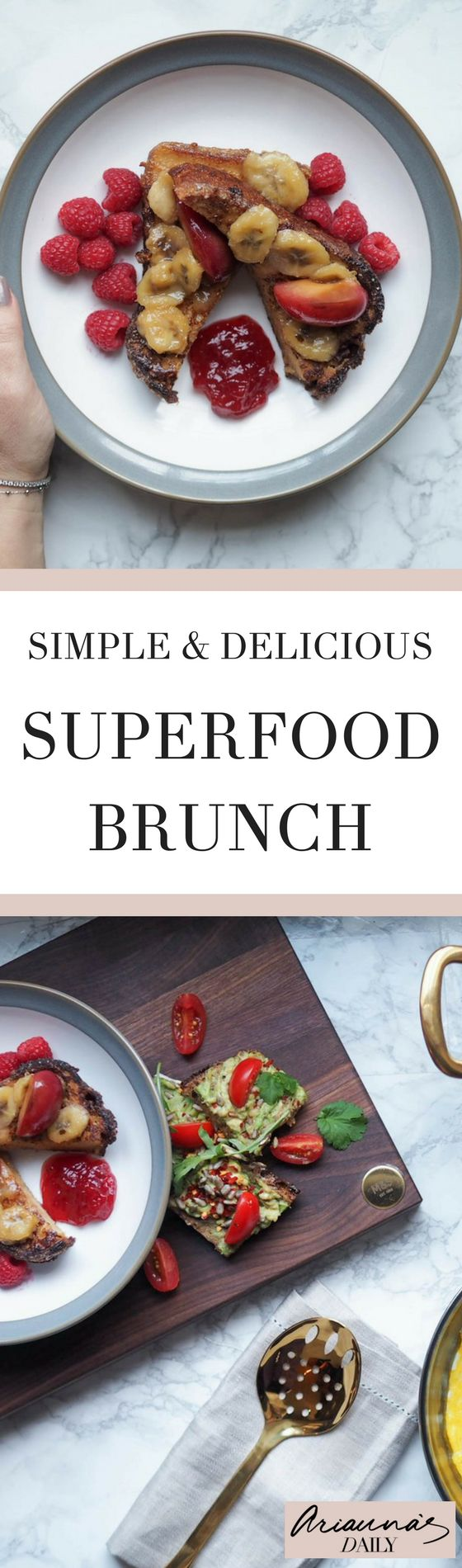 A delicious range of both vegan and super healthy brunch recipes that will set you up for the day. Click through for the full brunch menu of superfoods. Perfect for the new year! #superfood #brunch #brunchrecipes #ariannasdaily