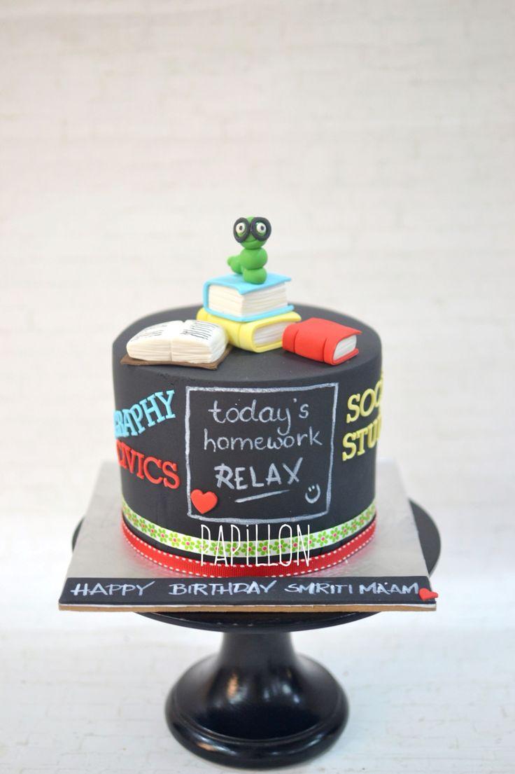 Teacher birthday cake Chalkboard effect cake