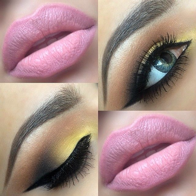 "❤️""Breathtaking!"" - yellow on eyelid with a brown crease and black in outer corner. light pale pink on lips and this is stunning."