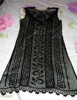 Receitas de Crochet: Vestido preto lindo