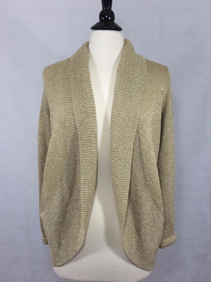 NEW CHICO'S SZ 0 4/6 $109 Addison Shine Long Sleeve Cardigan Gold Womens Top #Chicos #Cardigan #EveningOccasion