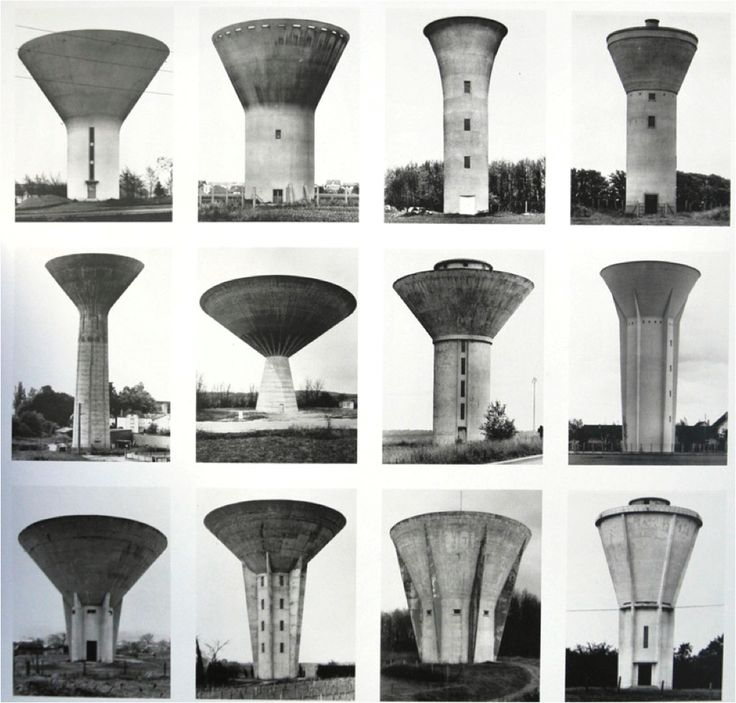 Water tower collage by Bernd and Hilla Becher