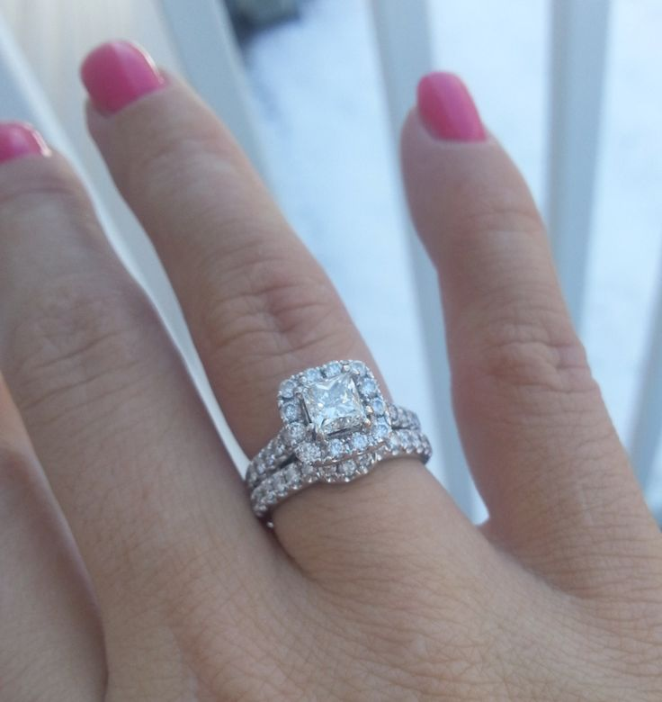 Real image of Princess Halo Diamond Engagement Ring in 14k white gold