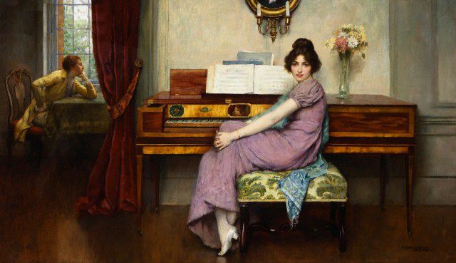 "In ""The Reluctant Pianist"" Breakspeare gives us a young lady (he would use the model in dozens of paintings) gazing in our general direction, seated in front of , but definitely NOT playing her piano."