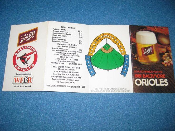 1981 baltimore orioles schedule - schlitz - cal ripken jr. 1st ml game  from $4.0